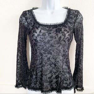 Black Lace sheer Top blouse S/P